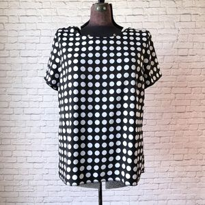 Black and white polka dot jcrew top large blouse